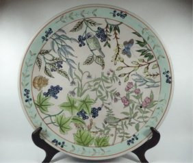 Large Chinese Porcelain Platter, Bird & Floral Design,
