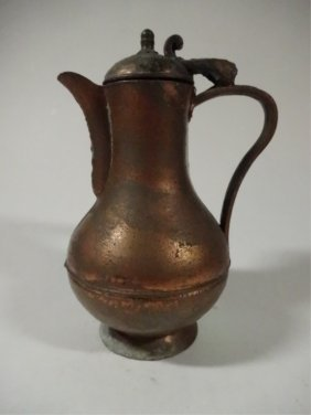 """Copper Pitcher, Marked """"artistic"""" On Base, Approx"""