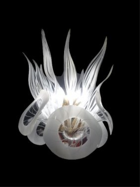 1970's Camer Murano Glass Chandelier, White And Clear,