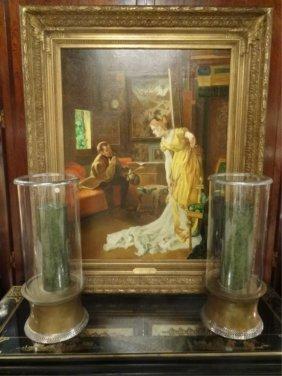 Alfred Emile Leopold Stevens (attrib.) Oil Painting On
