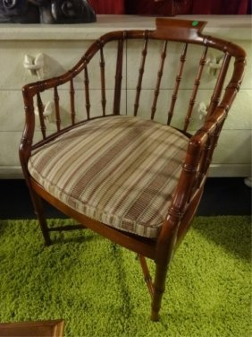 Faux Bamboo Style Armchair, Cane Seat With Striped