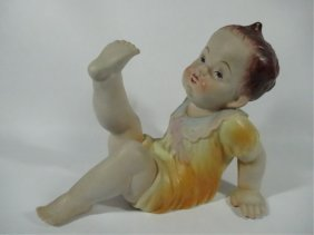 Vintage Porcelain Bisque Piano Baby Figurine, Approx