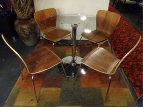 4 Modern Bentwood And Chrome Dining Chairs, Felix Model