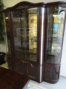 Lighted Breakfront, Dark Finish, Mirrored Back With