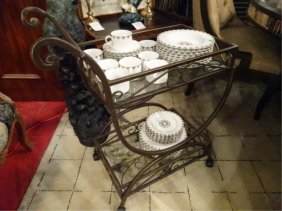 Ornate Metal And Glass Serving Cart On Wheels, Glass