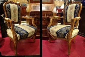 Pair Louis Xv Style Fauteuil Chairs, Carved Wood