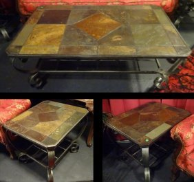 3 Pc Metal And Faux Slate Coffee Table And End Tables,
