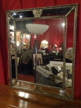 Large Neoclassical Style Mirror With Metal And Mirrored