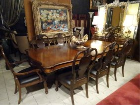 Pulaski Dual Pedestal Dining Table, With 8 Chairs, 2