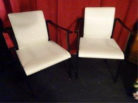 Pair 1970's Metal And White Vinyl Armchairs, Black
