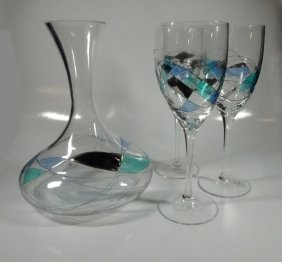 4 Pc Luminescence Lead-free Glass Crystal Barware,