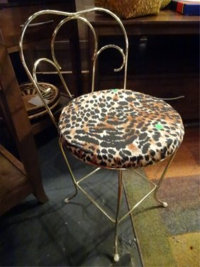 Brass Vanity Stool With Animal Print Upholstered Seat,