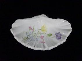 Limoges France Shell Form Dish, Floral Design, Approx