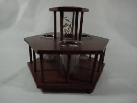 "Wooden Stand With 4 Glass Beakers, Approx 6.75""h"