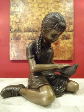 Bronze Sculpture, Seated Girl With Bird, Inscribed