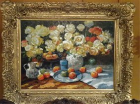 Huge Painting On Canvas, Floral Still Life, In Ornate
