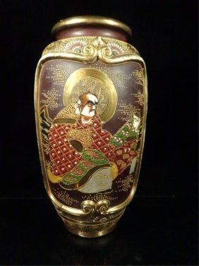 Japanese Satsuma Porcelain Vase, Chopmark Signature,