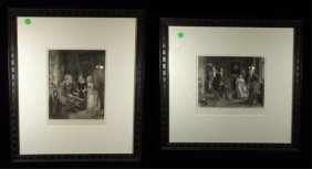 2 Antique Prints, Includes A Visit To The Armourer And