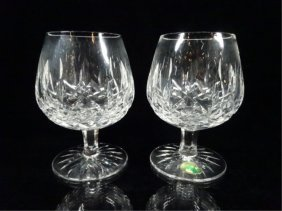 Pair Waterford Crystal Brandy Snifters, Lismore, Approx