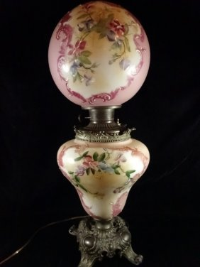 Vintage Hurricane Lamp, Painted Floral Design, Approx