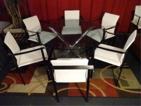 6 1970's Metal And White Vinyl Armchairs, Black Finish
