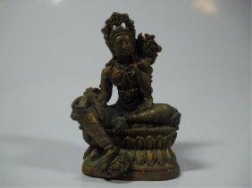 """Bronze Quan Yin Sculpture, Approx 2.5""""h"""