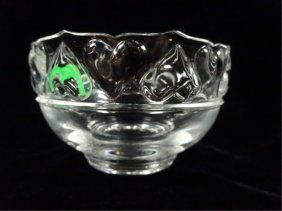 Tiffany & Co. Crystal Bowl, Hearts Pattern, Approx 5""