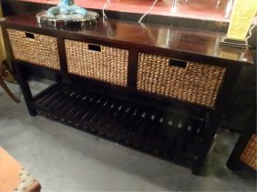 Wood And Rattan Console Table, 3 Rattan Drawers And