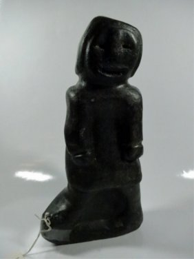 Inuit/eskimo Carved Stone Sculpture Of A Woman, With