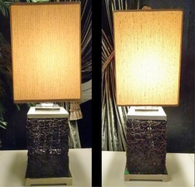 Pair Modern Metal And Wood Twig Form Lamps, Square
