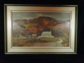 Douglas Elliott Oil On Board Painting, Landscape Scene