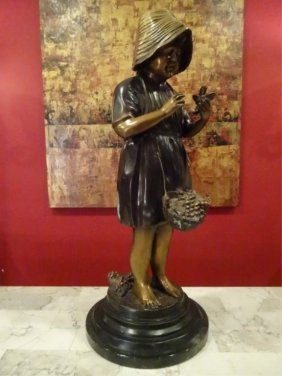 Bronze Sculpture, Girl With Small Bird, On Round Marble