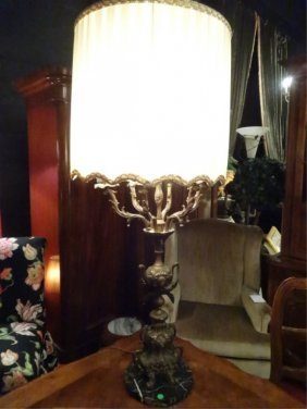 Large Vintage Bronze Lamp, With Marble Base, Pleated