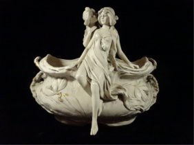 Royal Dux Art Nouveau Porcelain Bowl, With 2 Women And