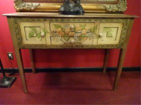 Painted Wood Console Table, Painted Fruit And Foliage,