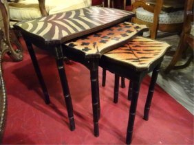 3 Pc Faux Bamboo Stacking Tables, Animal Print Tops,