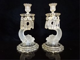 Pair Baccarat Crystal Dolphin Candlesticks, French,