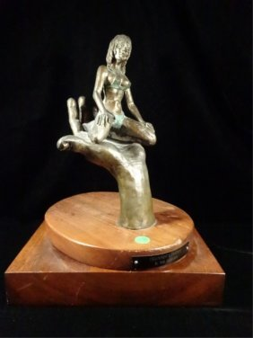 Bronze Sculpture, Woman Seated On Man's Hand, Titled