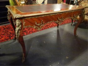 Louis Xv Style Leather Top Desk, Gilt Metal Mounts,