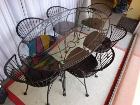 Mid Century Woodard Wrought Iron Dining Table And 6