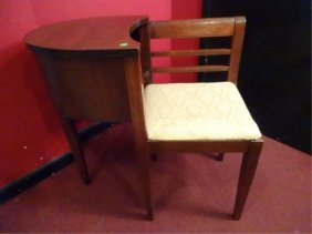 Mid Century Modern Wood Telephone Table And Chair,