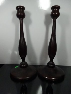 "Pair Wood Candle Sticks, Approx 11""h"