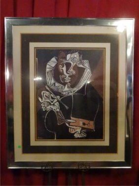Large After Pablo Picasso Print, Matted And Framed In
