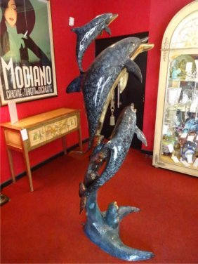 Huge Patinated Bronze Sculpture, Dolphin Family, Approx