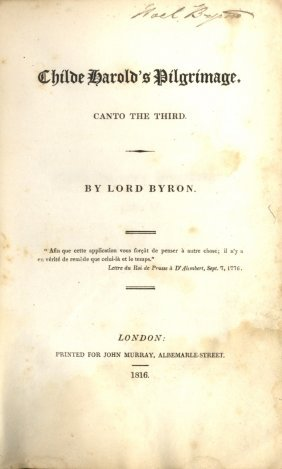 Byron Lord: (1788-1824) British Poet, A Leading Figure