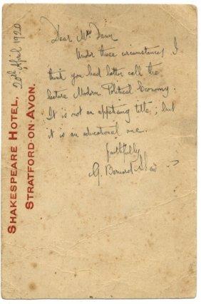 Shaw George Bernard: (1856-1950) Irish Playwright,