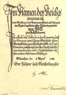 Brauchitsch Walther Von: (1881-1948) German Field