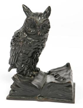 Austrian Bronze Owl Signed Klar