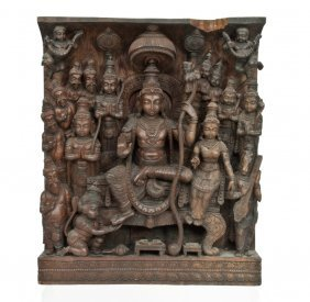 Finely Carved Wood Relief