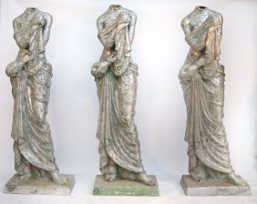 Three Life-Size, Aluminum Female Figures
